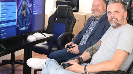 David R Mays and Alex Chenery from Level Up test drive the new gaming centre in Dereham. Picture: BR