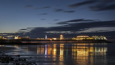 Cromer, lit up for the filming of BBC ident Wonderland. Picture: JOHN NIELD