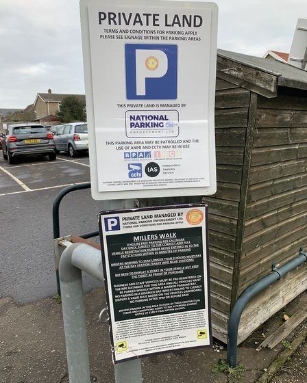 These are the signs on the enterance to the Miller's walk car park in Fakenham. Picture:Archant