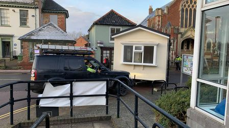 The mobile home being delivered caused traffic along Oak Street in Fakenham. Picture: Archant