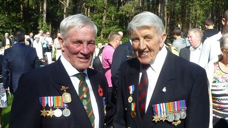 Thomas Twite with Mark Murphy, the son of a fallen Second World War veteran, at Volkenswaard's 70th