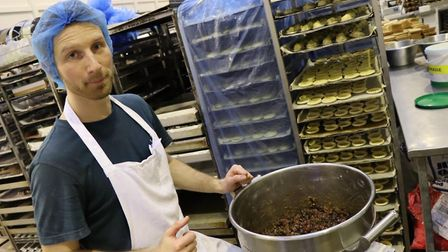 Nick Henry, making mince pies at Krusty Loaf's bakery in Fakenham. Picture: Stuart Anderson