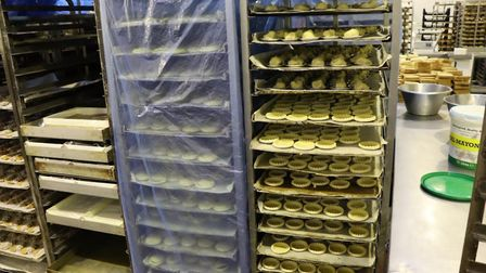 Mince pies at various stages of production at Krusty Loaf in Fakenham. Picture: Stuart Anderson