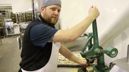 Steve McGhee making mince pie forms prior to filling at Krusty Loaf in Fakenham. Picture: Stuart And