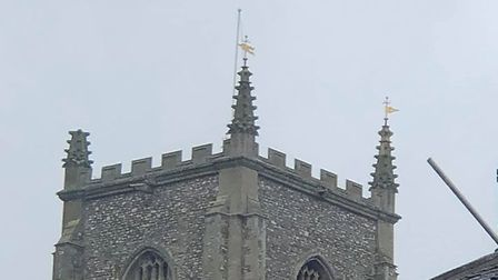 One of the spires on St Peter and St Paul Fakenham Parish Church has blown off during Storm Ciara. P