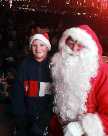 Ten year old Samuel Stone who turned on the Dereham christmas lights with santa.