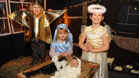 The Dereham Baptist Church nativity photo booth, with Brayden Edwards, 3, as a star; Amy King, 5, as