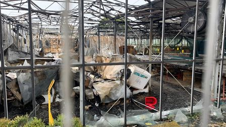 A scene from the aftermath of the fire at Randells Garden Machinery in Toftwod, Dereham. Picture: St