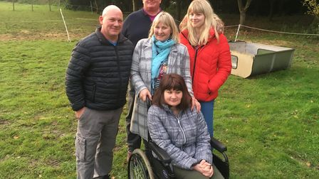 (From left to right) Karl and Angie Hannant with their daughters Beth and Jessica (sat down) along w