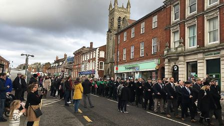 Dereham paused to pay tribute to the fallen on Remembrance Sunday 2019. Picture: Archant
