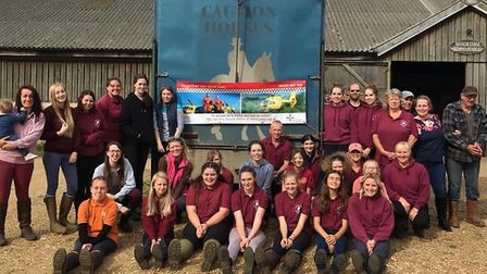 Skydive carried out by the Super 6, pictured with Manor Farm riding stables staff, helpers and rider