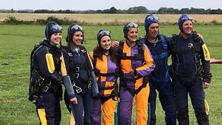 The Super 6 who took part in a charity skydive for EAAA. Pictures: supplied by Diane Cross-Gower
