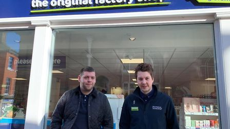 Tiny's Taxis owner, Mark Griffin (left), and The Original Factory Shop Manager, Nick Deere (right) o