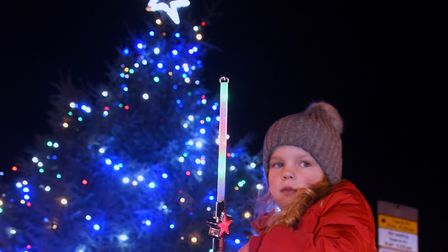 Imogen Smith, three, in awe at the Dereham Christmas lights and tree. Picture: DENISE BRADLEY