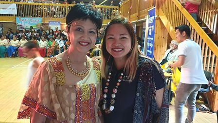 Tess Ward, president of Pinas, with Crystal Dias, a supporter of the group which won an award for 'o