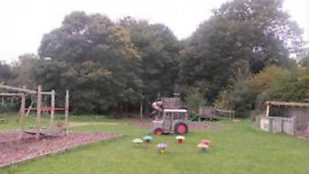 Plans to revamp playground area at Gressenhall Rural Life Museum. View of area where tower will be.