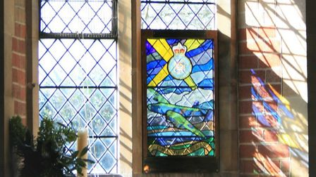 Stained glass memorial to crashed Halifax plane installed at Christ Church, Fulmodeston. Pictures: s