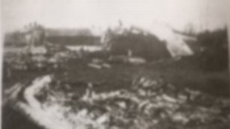 The wreckage of the plane in 1945. Picture: supplied by Chris Heath