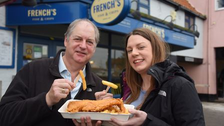 Alanna French, manager of Wells' fish and chip shop French's, with her dad, Marcus, managing direct