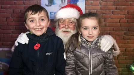 Jack and Millie got their gifts when they visited santa at Dereham Windmill. Picture: Ella Wilkinson
