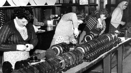 Workers at the Metamec clock factory in Dereham busy with export orders in March 1954. Picture: Arch