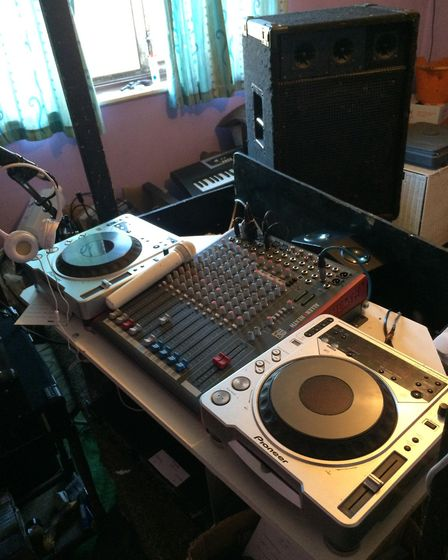 The Fakenham DJ has set up his DJ equipment in his bedroom for the live shows. Picture: Chris Esposi