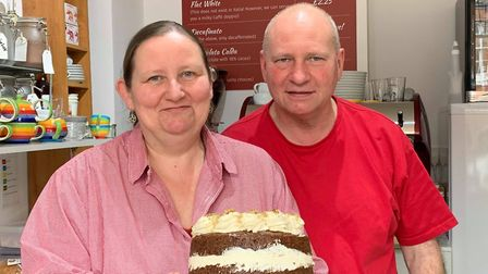 Owners of the Rainbow Deli in Fakenham, Naomi Katze (left) and Alan Katze (right). Picture. Archant