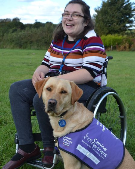 Louise Rafferty from Fakenham with Canine Partners dog, Skye. Picture: Canine Partners