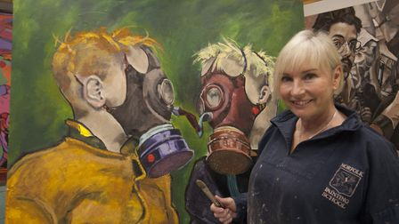 Children wearing gas masks in the painting by Fakenham artist Terri Broughton. Picture: Supplied by