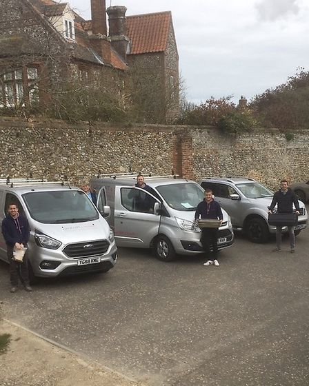 Grocott and Murfit preparing to deliver food across Fakenham. Picture: Claire Johnston