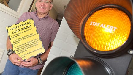 A traffic light system has been installed for the loos inside The Aviator pub in Scultorpe. It was t