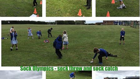 Pupils at Astley Primary school taking part in the Sock Olympics. Picture: Astley Primary school