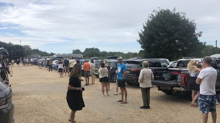 The queue David Matthews was faced with when trying to buy a ticket to park at Wells Beach Car Park.