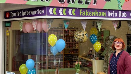 Owner of Sew Sweets, Fay Dewing runs the town's info hub where the map will be available. Picture: A