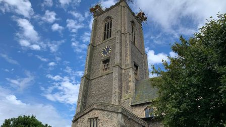 The pinnacle on the south-west spire of Fakenham Parish Church was damaged back in February. Picture