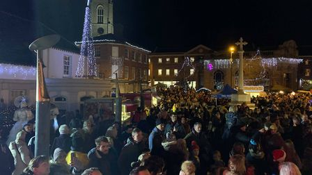 Crowds gathered to watch the Fakenham Christmas light switch on in 2019. Picture: Aaron McMillan