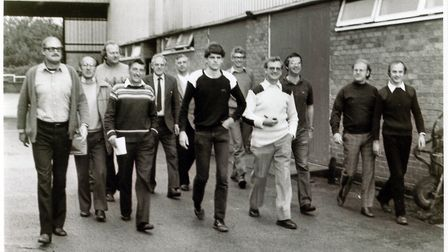 Fakenham Press workers leaving the factory in October 1982.Left to right; Gordon Berry, Tony Hunt. J