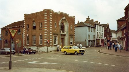Awaiting its fate: the former printing works in 1987 before it was knocked down.. Picture: Fakenham