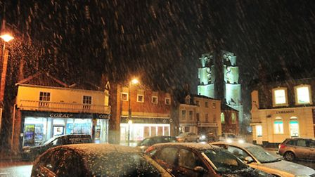 Snow arrives in Beccles.