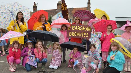 First Earsham Brownies at Bungay Festival street procession