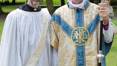 Philip Miller - new minister for Beccles picture: Rev Philip Miller and RT Rev Nigel Stock – Bishop