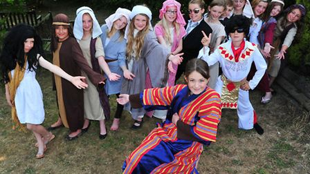 Year Six pupils from Worlingham primary school in costume for school production of Joseph.