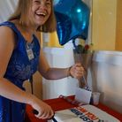 Jessica Cook, NF2 sufferer - cake cutting at book launch