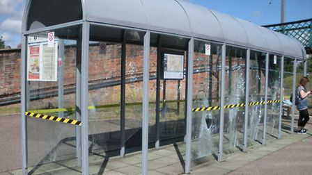 Vandals have smashed glass panels at the recently renovated passenger shelter at Beccles Railway Sta
