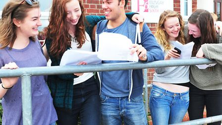 Bungay High sixth form students collect A Level results.