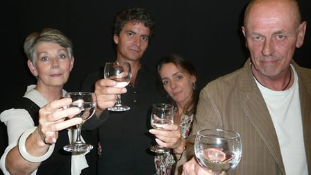 Yves <correct> Green, Darren France, Cathy Gill and Peter Sowerbutts in rehearsal for An Inspector C