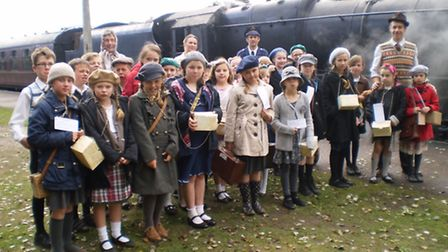 Children from Thurton Primary School have travelled on the 'poppies' train as evacuees for the day