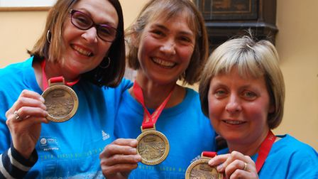 Gemma Bacon, Mary Pendered and Jo Newton after completing the London Marathon.