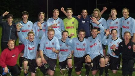 Bungay Town enjoy the moment after lifting the Anglian Combinations Junior Knock-out Cup on Tuesday