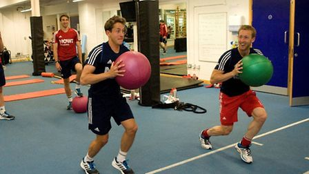 Tim Whiteman and team-mate Barry Middleton go through their paces.